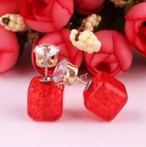 ❣Red Crushed Candy Crystal Earrings❣